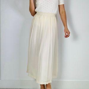 Vintage 100% Silk Cream Pleated Midi Skirt